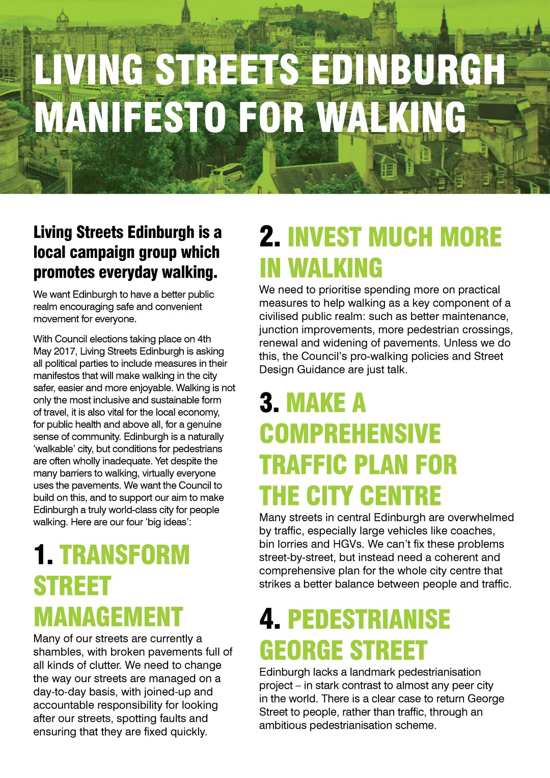 Press Release Living Streets Edinburgh Page 2 Wiring A 4 Way Switch Diagram Four Caroldoey Manifesto Front